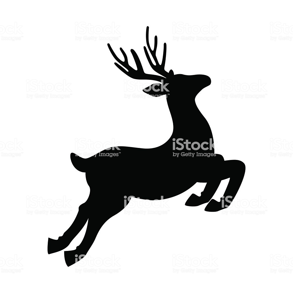 Deer Running And Jumping Illustration Vector Stock Illustration.