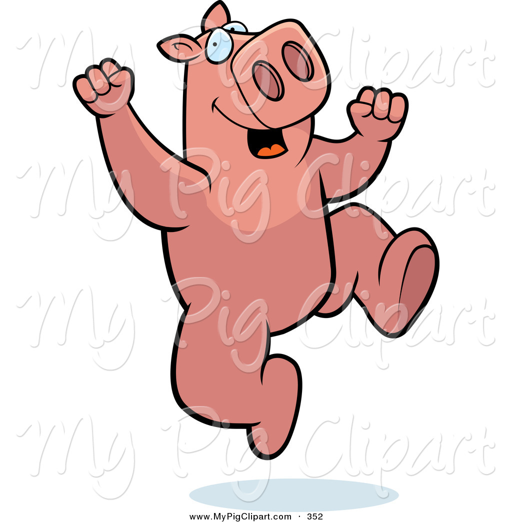 Swine Clipart of a Pink Pig Character Jumping up and down by Cory.
