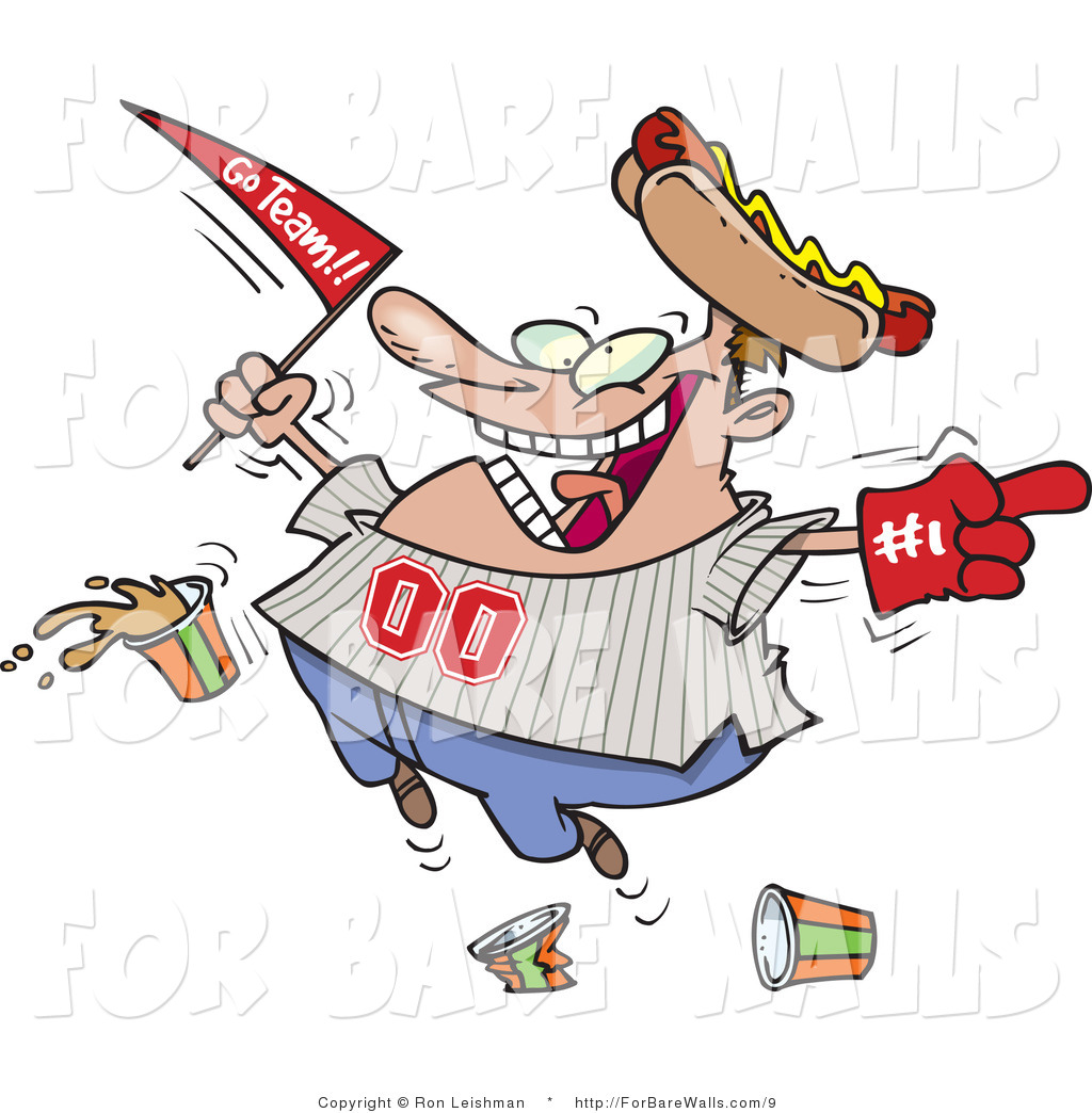 Printable Illustration of a Baseball Sports Fan Jumping up and.