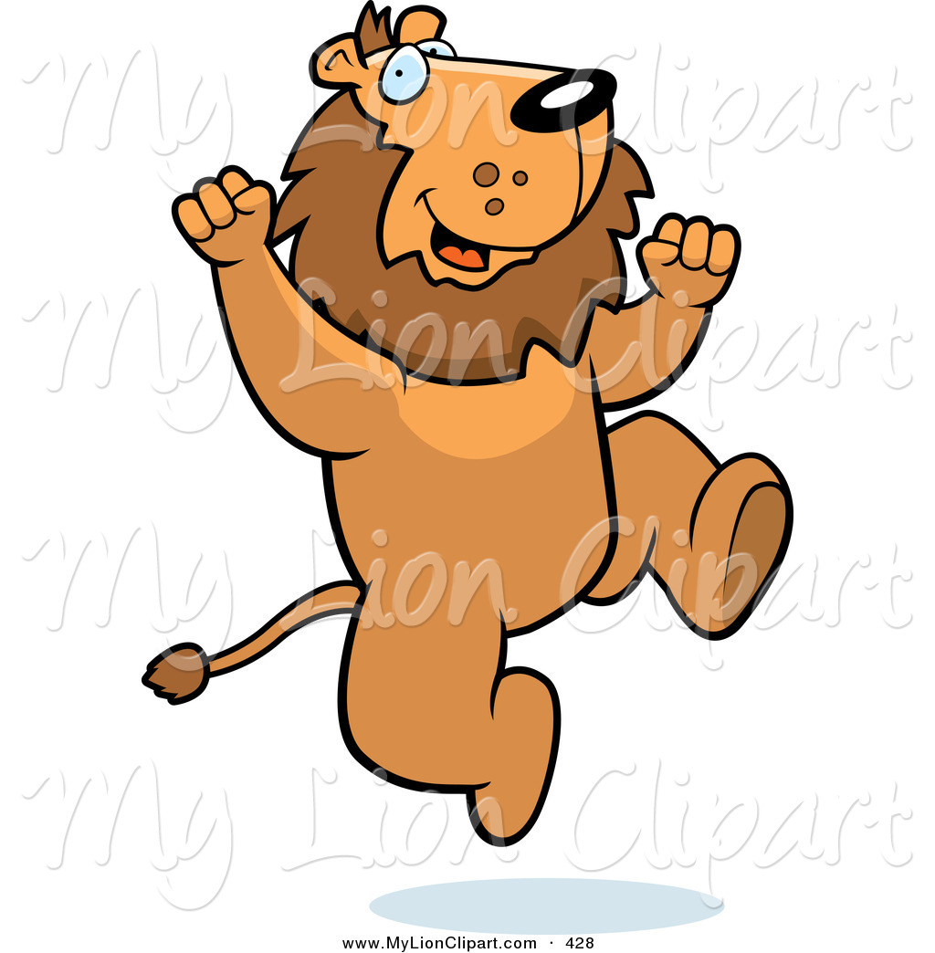 Clipart of an Excited Lion Jumping up and down by Cory Thoman.