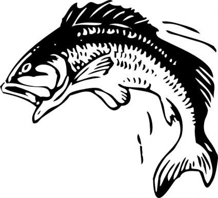 Bass vector jumping fish clip art ai svg free.
