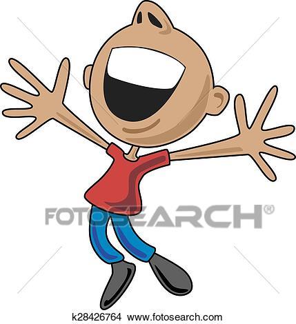 Happy Cartoon Man Jumping for Joy Clipart.