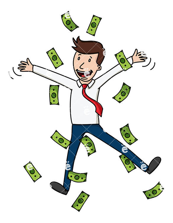 A Businessman Jumping For Joy Amidst Lots Of Cash.