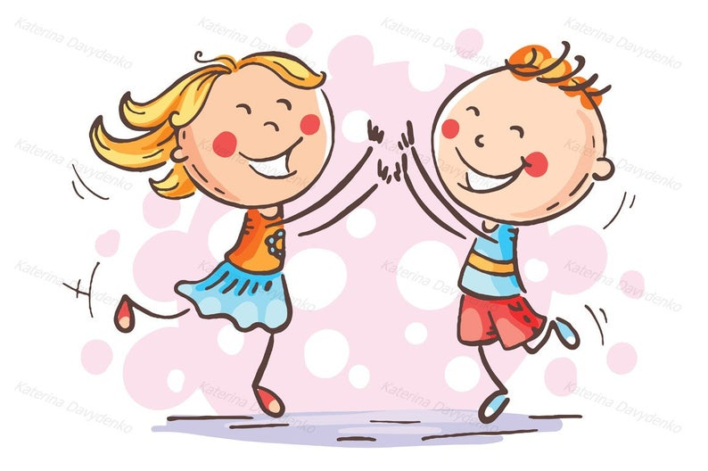 Boy and girl jumping with joy to celebrate some victory or success.  Children clipart, kids clipart, kids svg, doodle clipart, happy kids.