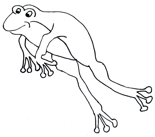 Black and white clipart frog jumping.