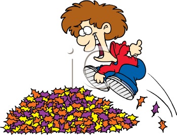 A boy jumping into a pile of leaves cartoon image..