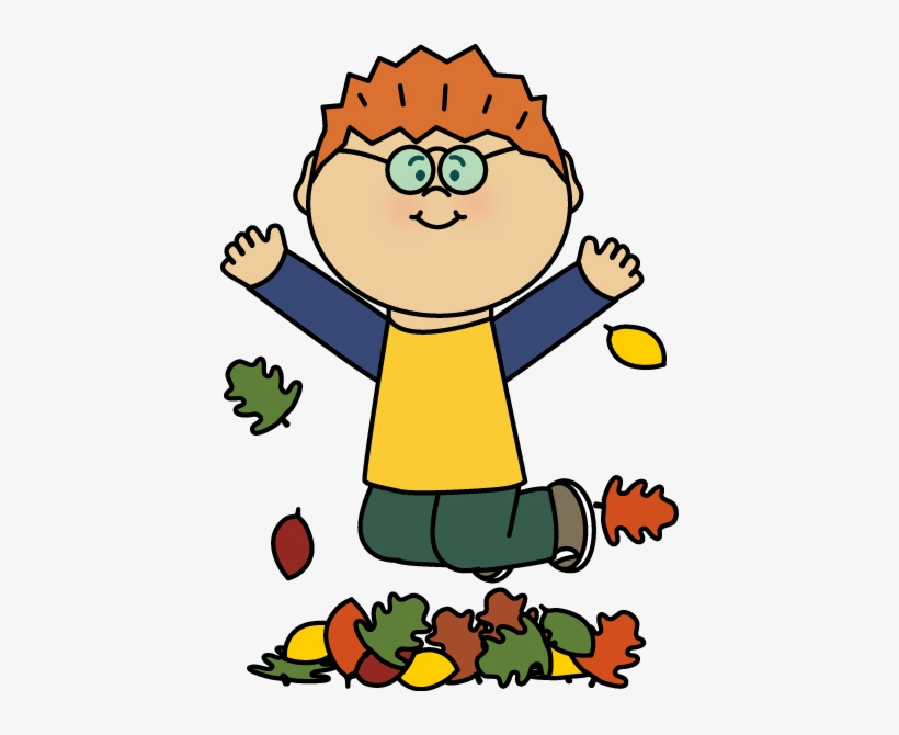 Boy Jumping In Leaves Clipart.