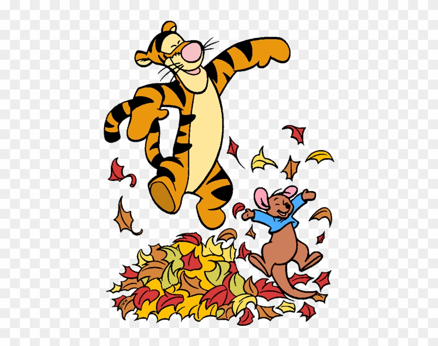 Roo Tigger, Roo Jumping In Pile Of Leaves.