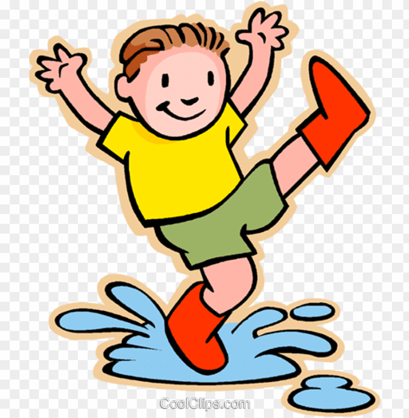 boy jumping in rain puddle royalty free vector clip.
