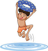 Clipart of a boy diving into water k11663314.