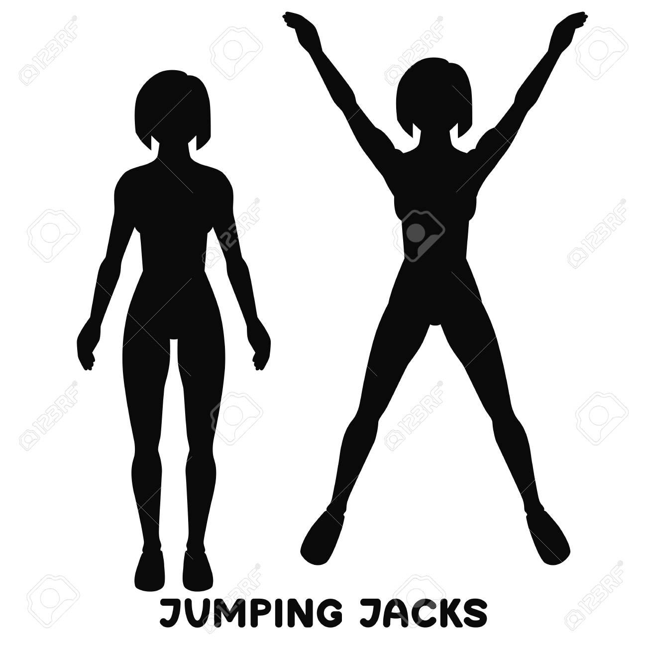 Jumping Jack. Sport exersice. Silhouettes of woman doing exercise.