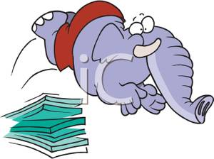 Clipart Picture: An Elephant Jumping Off a Diving Board.