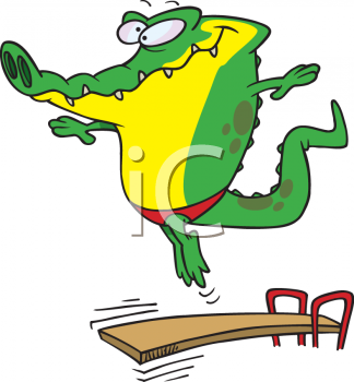 Cartoon Clipart Picture Of A Crocodile On A Diving Board.
