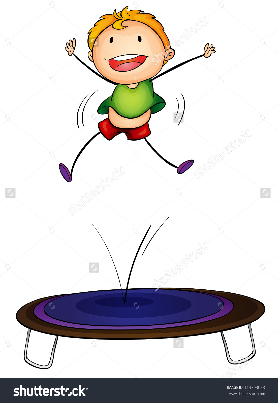 Boy Jumping On Trampoline Clipart.