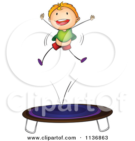 Clipart Happy Baby Jumping On A Trampoline.