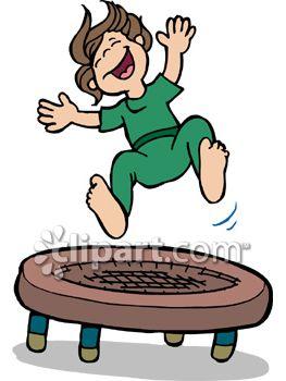 Happy Boy Jumping on a Trampoline.