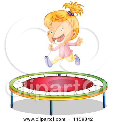 Cartoon Of A Happy Boy Jumping On A Trampoline.