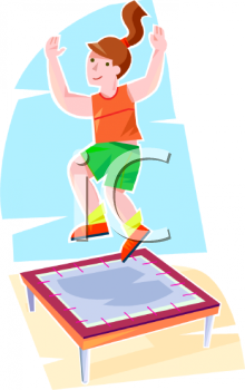Royalty Free Clip Art Image: Teen Girl Jumping on a Trampoline.