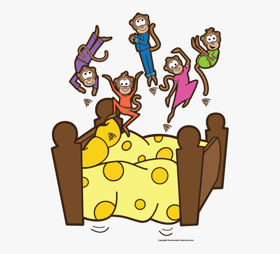 Five Little Monkeys Jumping On The Bed Clipart , Free.