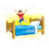 Boy in Red Shirt, jumping on bed with a yellow background.