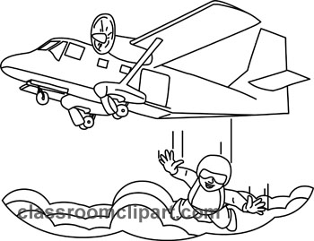 Sports : skydiver_jumping_out_plane_outline_3 : Classroom Clipart.