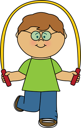 Kid Playing with a Jump Rope Clip Art.