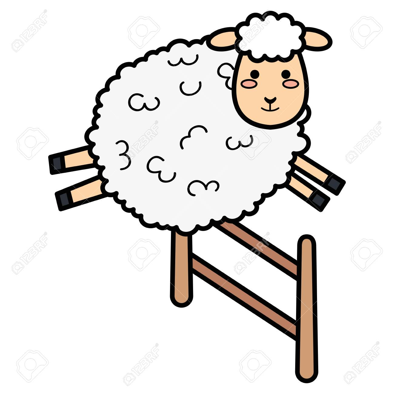 cute sheep jumping fence character icon vector illustration design.
