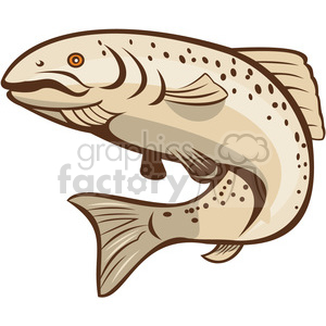 rainbow trout jumping up shape clipart. Royalty.