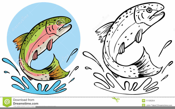 Jumping Trout Clipart.