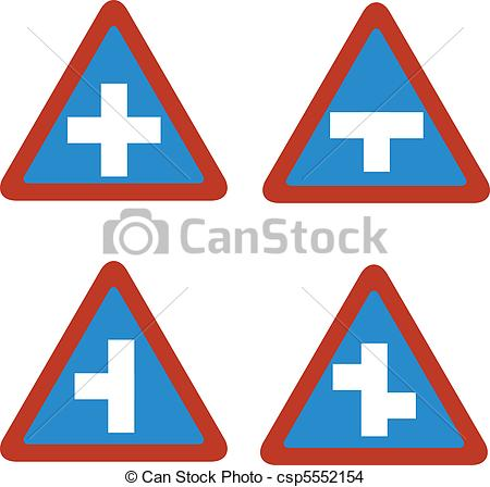 EPS Vector of junction blue traffic sign triangl.