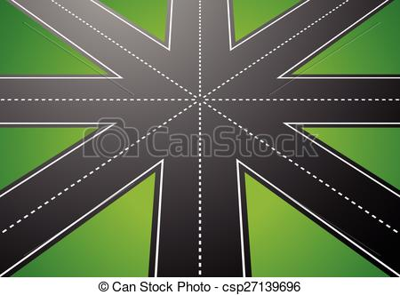 Vector Clipart of Empty junction, roundabout, asphalt road vector.