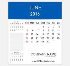 Download Free Vector 2016 Calendar June Printable Template Design.
