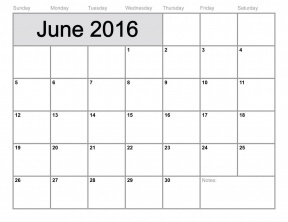 June Calendar Clipart.
