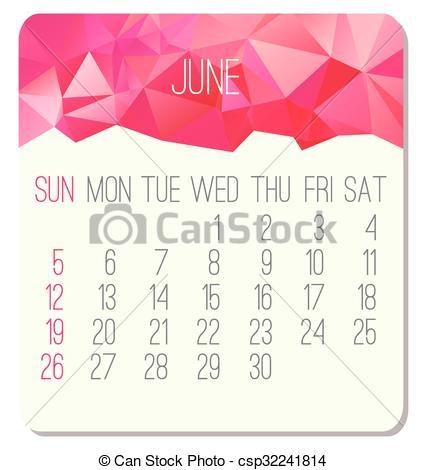 Vector Clip Art of June 2016 monthly calendar.