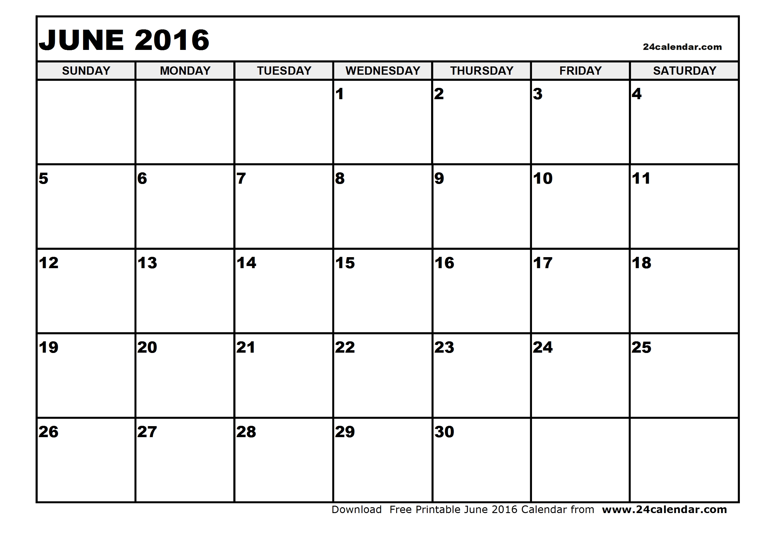 Blank june calendar clipart.