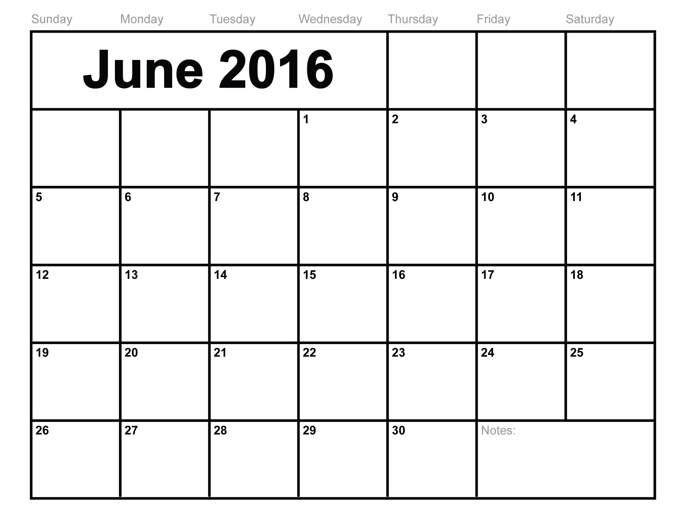 June 2016 calendar clipart.