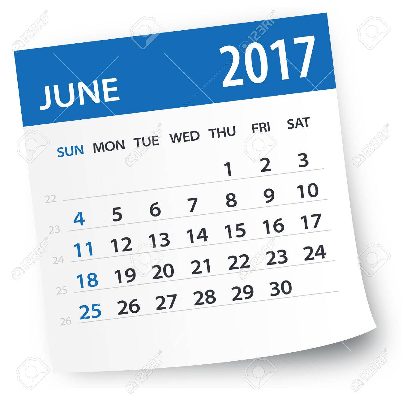 June 2017 Calendar.