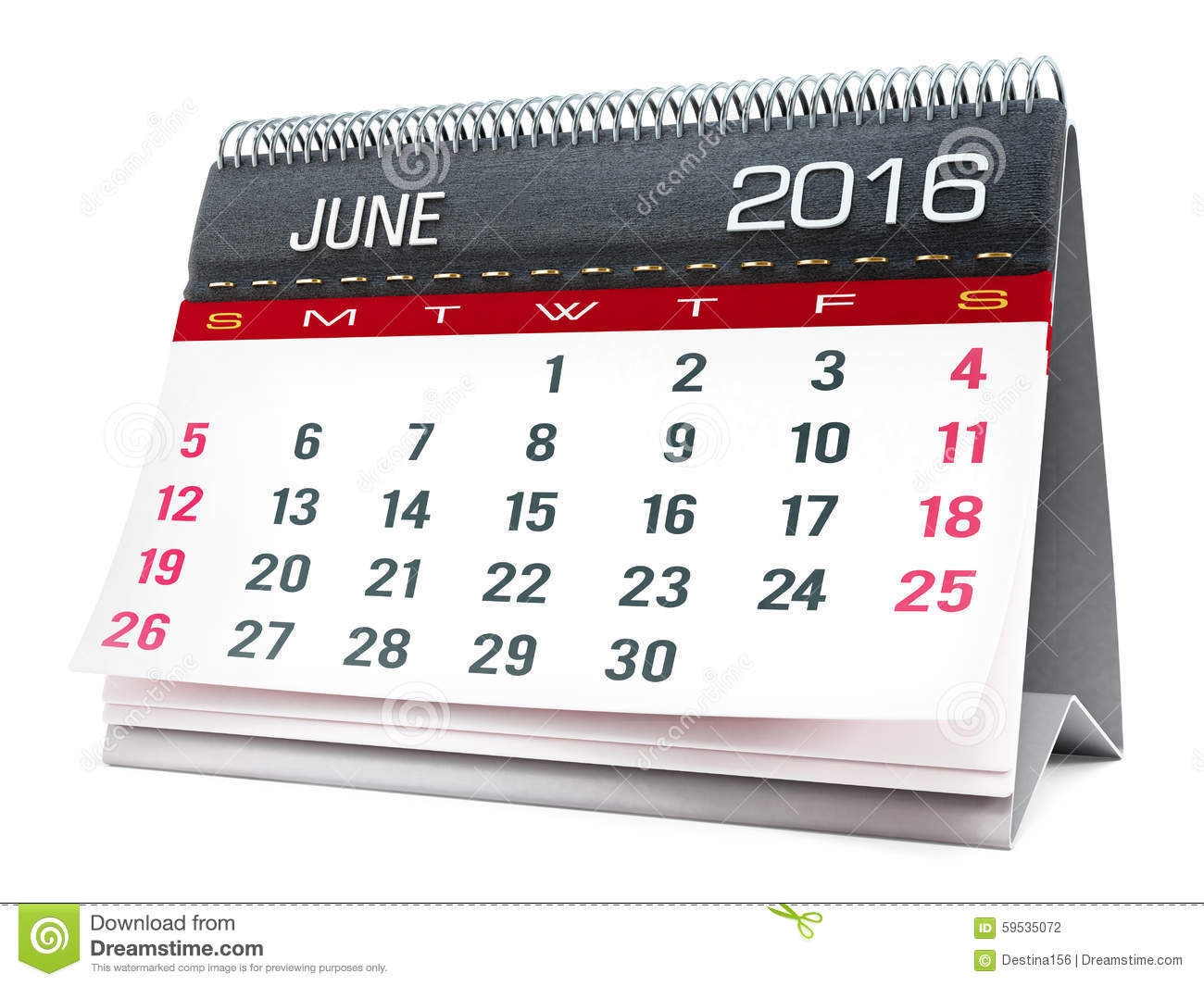 June 2016 Desktop Calendar Stock Illustration.
