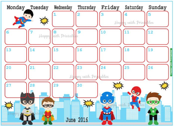 Wallpaper Calendar Superhero : June calendar clipart clipground
