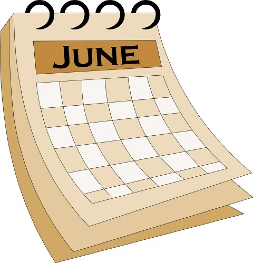 June 2016 calendar clipart.