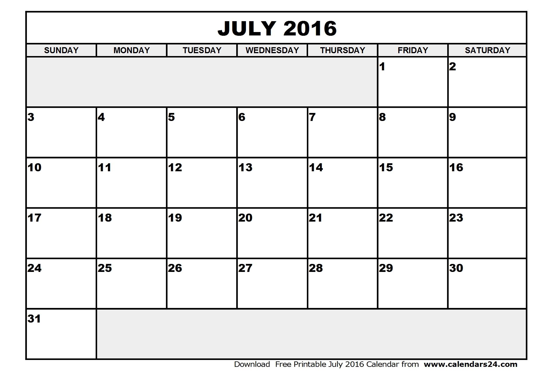 July Calendar.