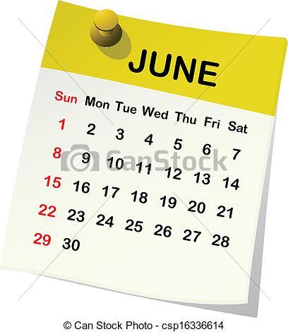 Clipart june calendar.