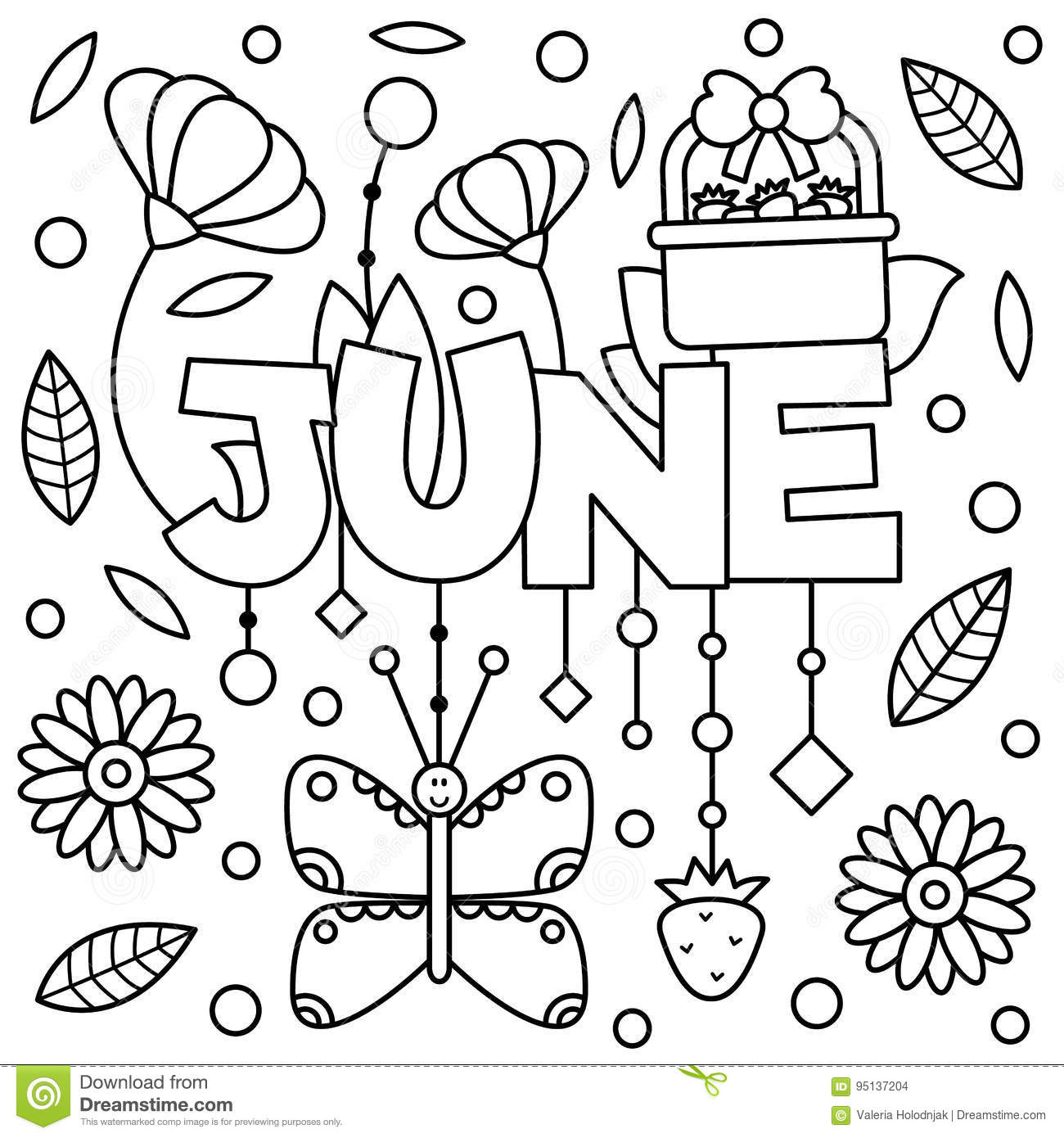 Black And White Illustration. Coloring Page. Stock Vector.