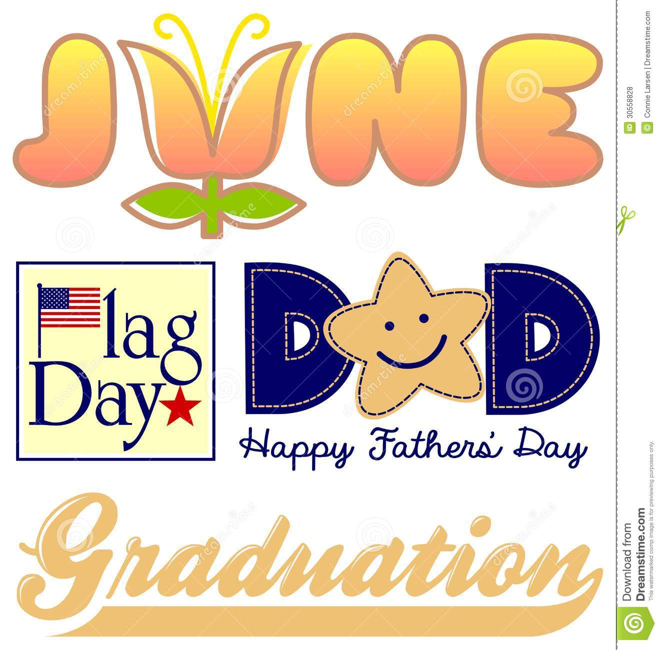 June Holiday Clipart.