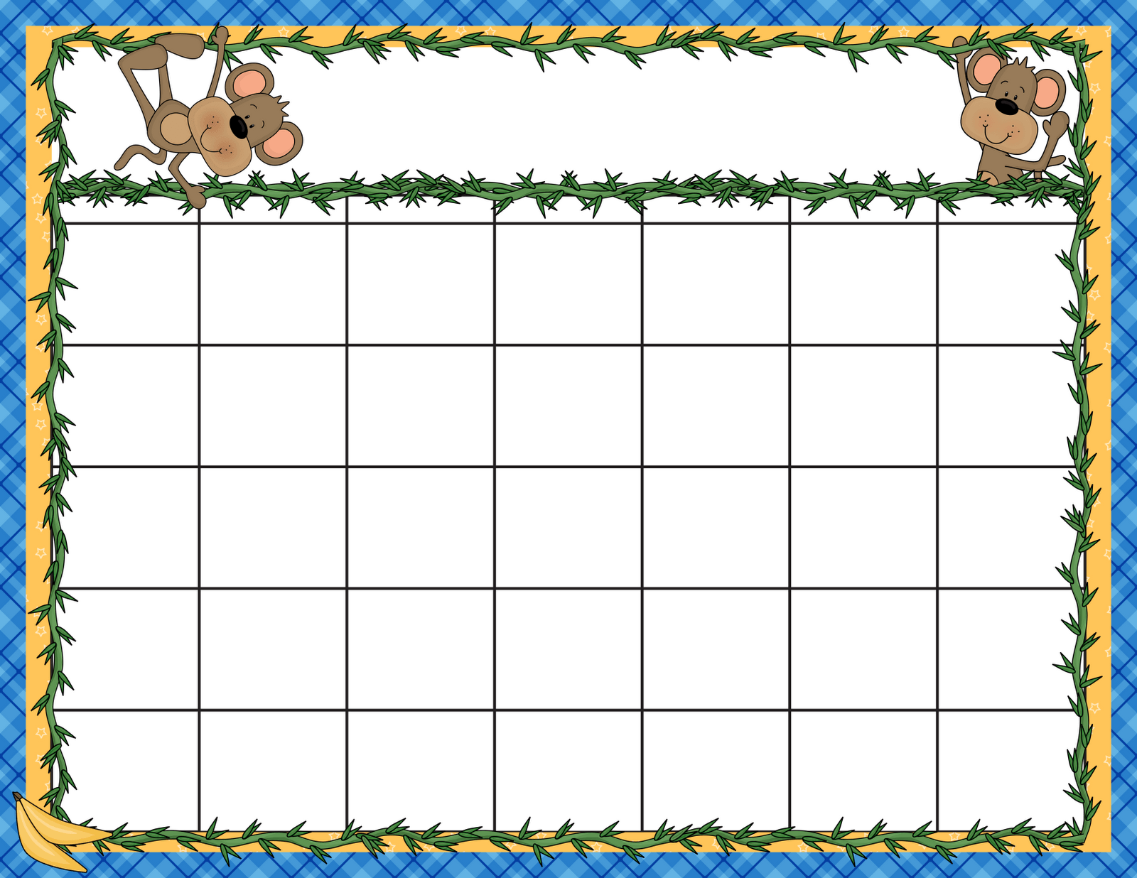 August preschool calendar clipart.