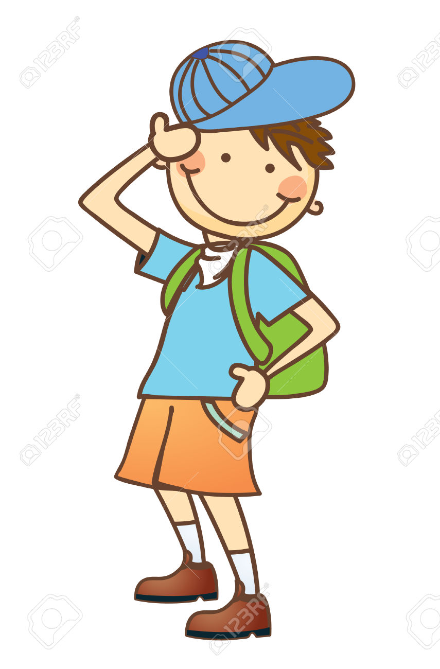 Little Boy On A Hiking Trip Royalty Free Cliparts, Vectors, And.