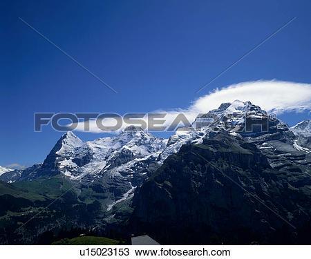 Stock Photo of Murren, Eigar, Monch, Jungfrau, Bern, Switzerland.