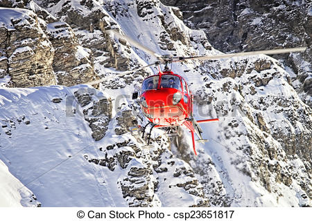 Clipart of Red helicopter at swiss alps near Jungfrau mountain.