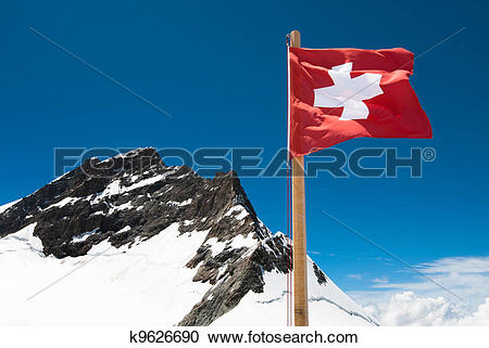 Stock Photography of Swiss Flag and Jungfrau k9626690.