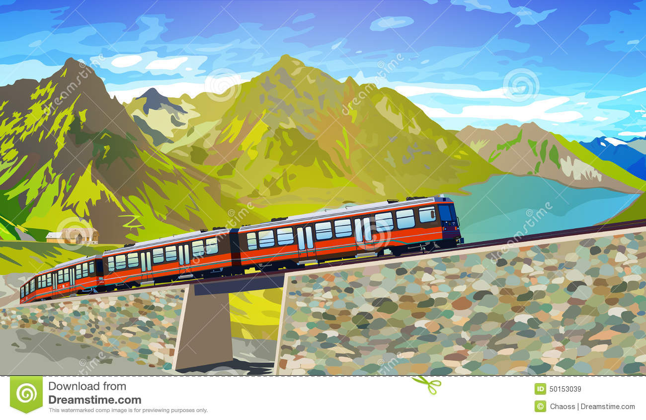 Red Train Jungfrau Mountain Switzerland Stock Illustrations.